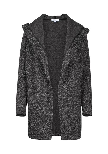Women's Black Texture Hooded Wrap, BLACK MIX, hi-res
