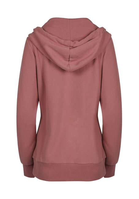 Ladies'  Zip Front Hoodie, DUSTY ROSE, hi-res
