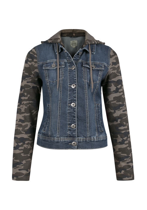 Ladies' Knit Sleeve Jean Jacket, MEDIUM WASH, hi-res