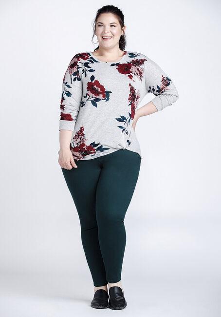 Women's Super Soft Floral Knot Front Top, HEATHER GREY, hi-res