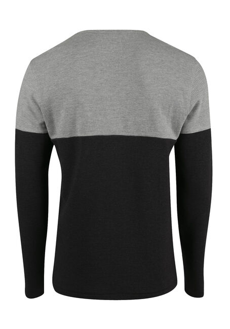 Men's Rib Knit Top, CHARCOAL, hi-res