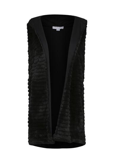 Women's Faux Fur Vest, BLACK, hi-res