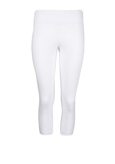Women's Wide Waistband Capri Legging, WHITE, hi-res