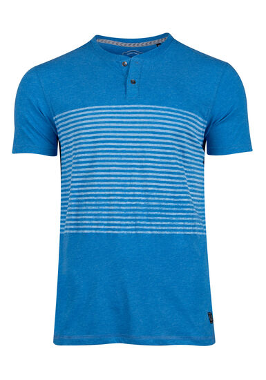 Men's Striped Henley Tee, FRENCH BLUE, hi-res