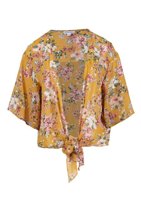 Women's Floral Cropped Tie-Front Kimono
