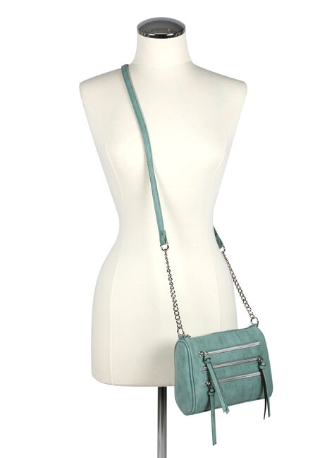Women's Triple Zipper Cross Body Bag, LIGHT BLUE, hi-res