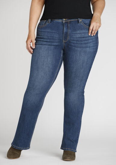 Women's Plus Size Curvy Baby Boot Jeans, DARK WASH, hi-res