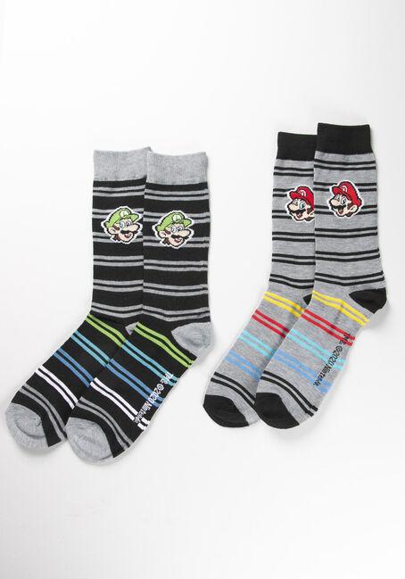 Mario and Luigi Crew Socks, GREY, hi-res