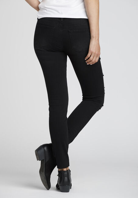 Women's Black Ripped Skinny Jeans, BLACK, hi-res