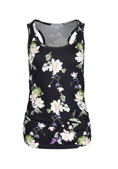 Women's Floral Super Soft Tank, BLACK, hi-res