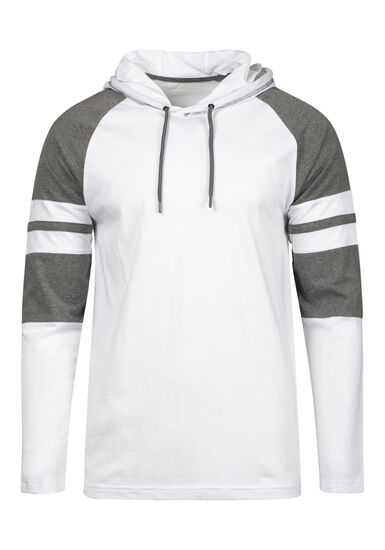 Men's Everyday Hooded Football Tee, WHITE, hi-res