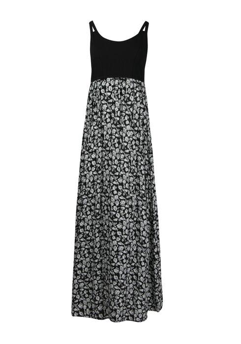 Women's Ditsy Floral Maxi Dress, BLK/WHT, hi-res