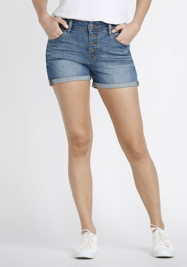Women's Button Fly High Rise Jean Short, MEDIUM WASH, hi-res