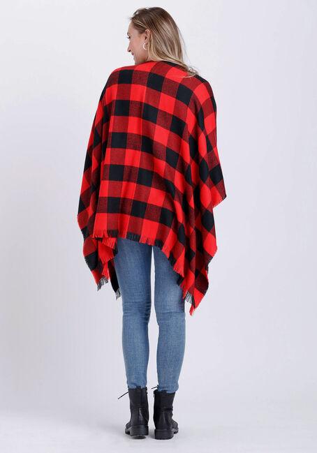 Women's Buffalo Plaid Wrap, RED/BLK, hi-res
