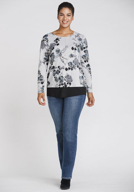 Women's Butterfly & Blossom Scoop Neck Top, GREY, hi-res