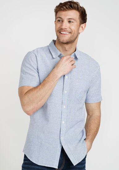 Men's Mini Stripe Shirt, BLUE, hi-res