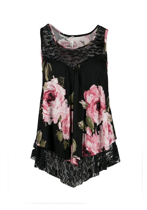 Ladies' Floral Tank, BLACK, hi-res