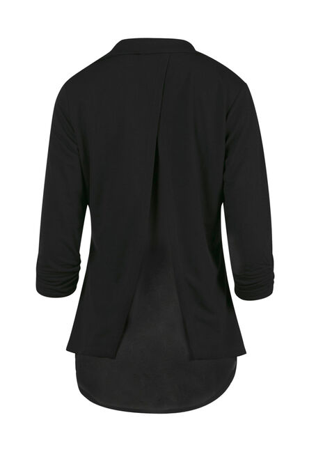 Ladies' Chiffon Back Blazer, BLACK, hi-res