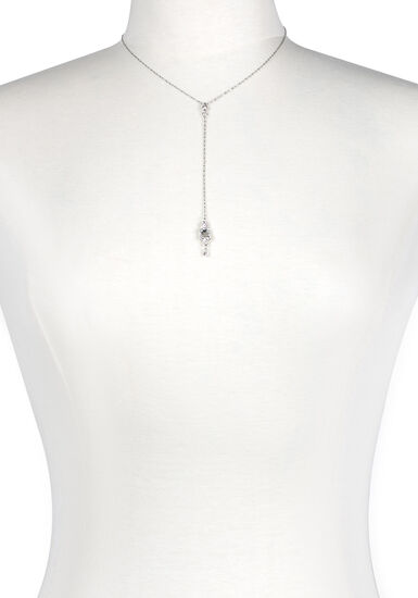 Women's Rhinestone Drop Necklace, SILVER, hi-res