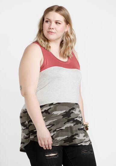 Women's Colour Block Tank, SIENNA, hi-res