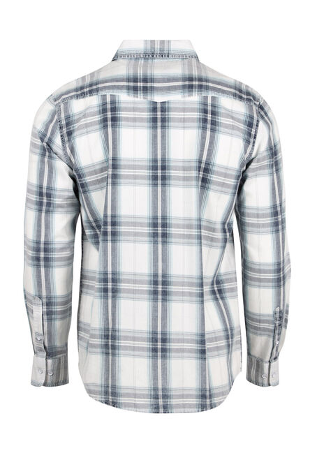 Men's Relaxed Acid Wash Plaid Shirt, WHITE, hi-res