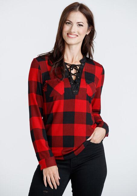 Women's Lace Up Plaid Tunic Shirt