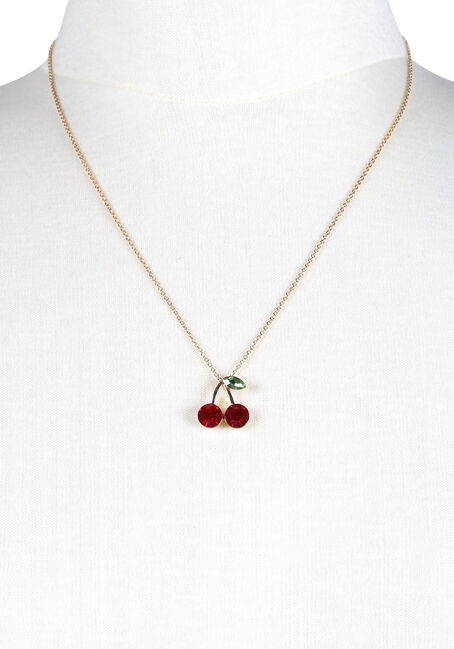 Ladies' Cherries Necklace, GOLD, hi-res
