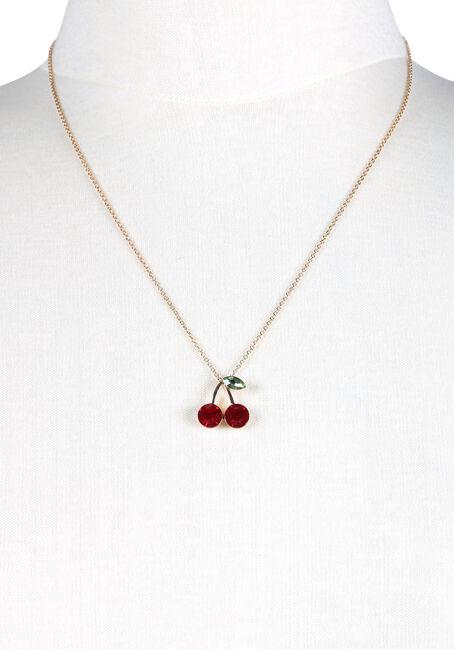Women's Cherries Necklace, GOLD, hi-res