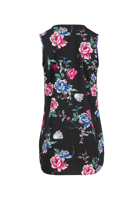 Ladies' Floral Half Zip Tank, BLACK, hi-res
