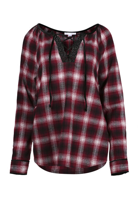 Women's Flannel Lace Up Top