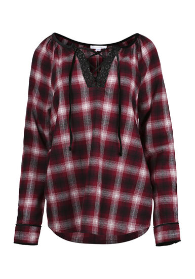 Women's Flannel Lace Up Top, WINE, hi-res