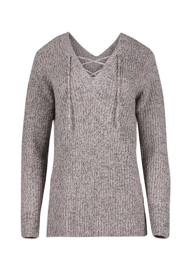 Women's  Lace Up Sweater, PINK/GREY, hi-res