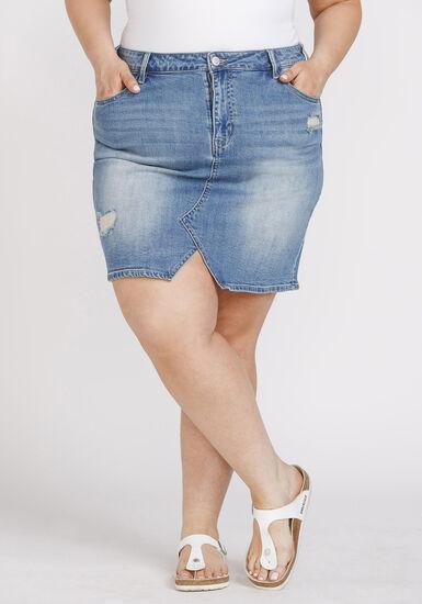 Women's Plus Size Vintage Denim Skirt, DENIM, hi-res
