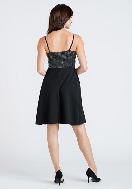 Women's Sequin Top Strappy Dress, BLACK, hi-res