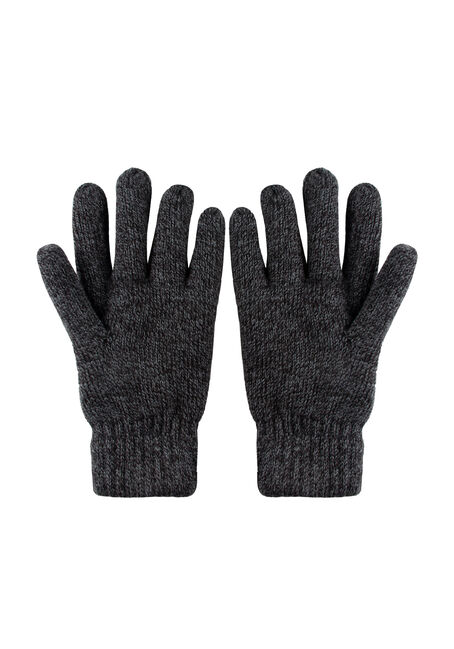 Men's Knit Gloves, BLACK, hi-res