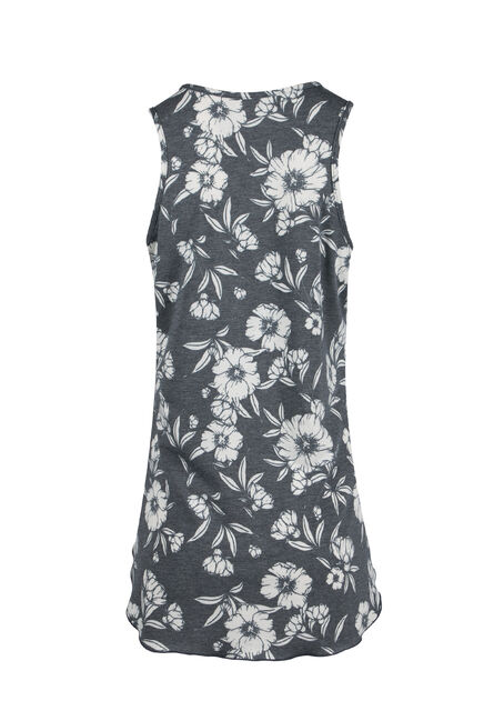 Ladies' Floral Tunic Tank, BLACK, hi-res