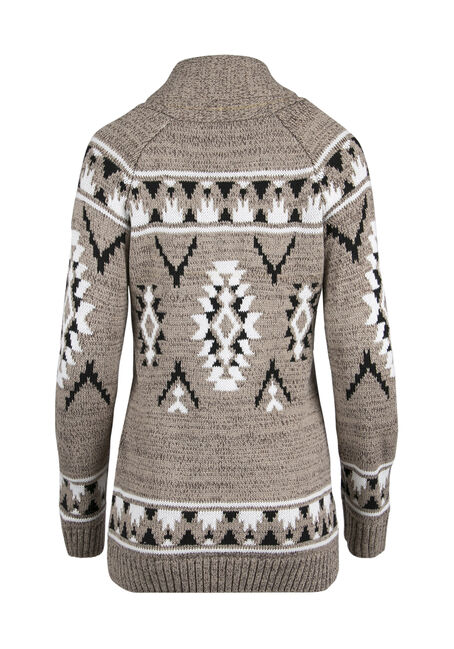 Ladies' Aztec Cardigan, OATMEAL/BLACK, hi-res