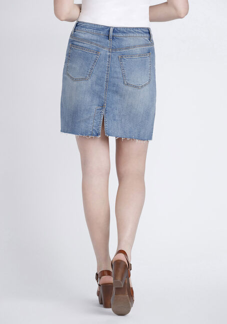 Women's Exposed Button Fly Denim Skirt, DENIM, hi-res