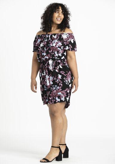Women's Bardot Dress, BLACK, hi-res