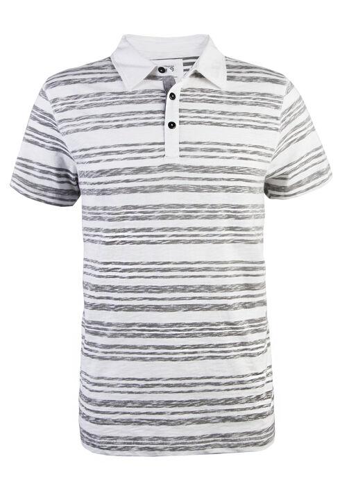 Men's Short Sleeve Reverse Printed Polo, WHITE, hi-res