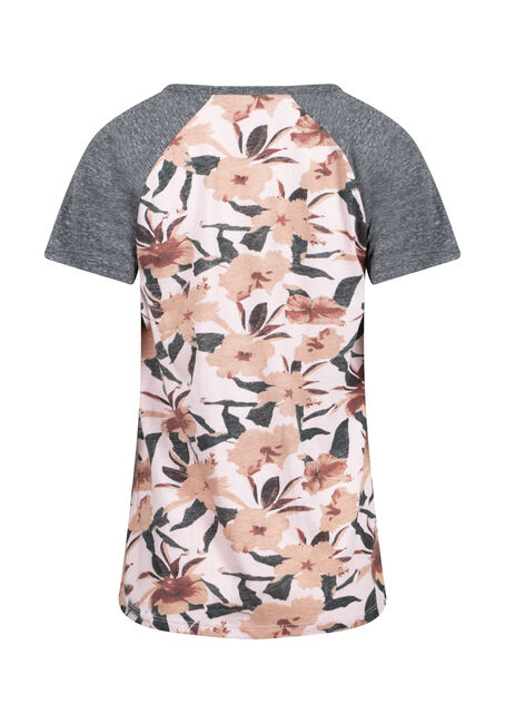 Women's Floral Baseball tee, PINK FLORAL, hi-res