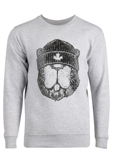 Men's Canadian Beaver Sweatshirt, HEATHER GREY, hi-res