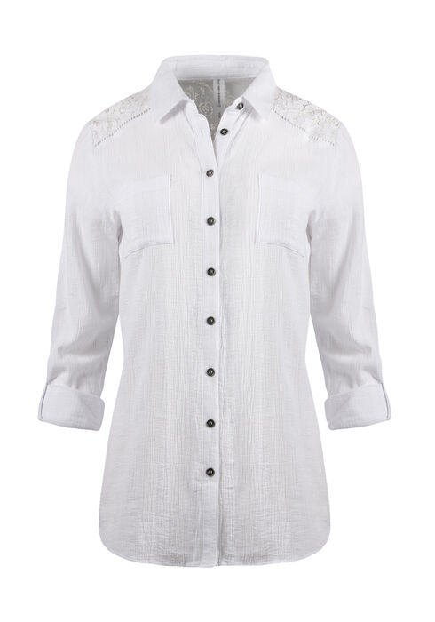 Ladies' Gauze Roll Sleeve Shirt, WHITE, hi-res