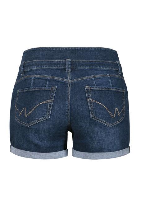Women's Plus Size Stacked Waist Short, DARK WASH, hi-res