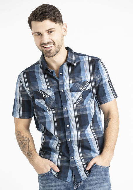 Men's 2 Pocket Plaid Shirt with Snaps