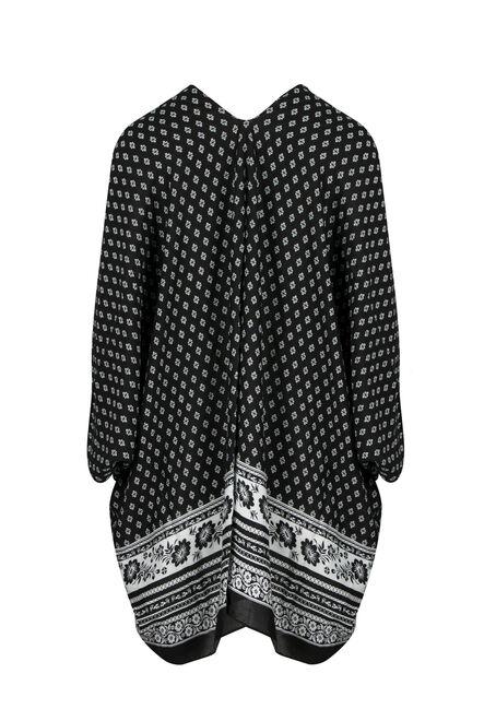 Ladies' Floral Kimono, BLACK, hi-res