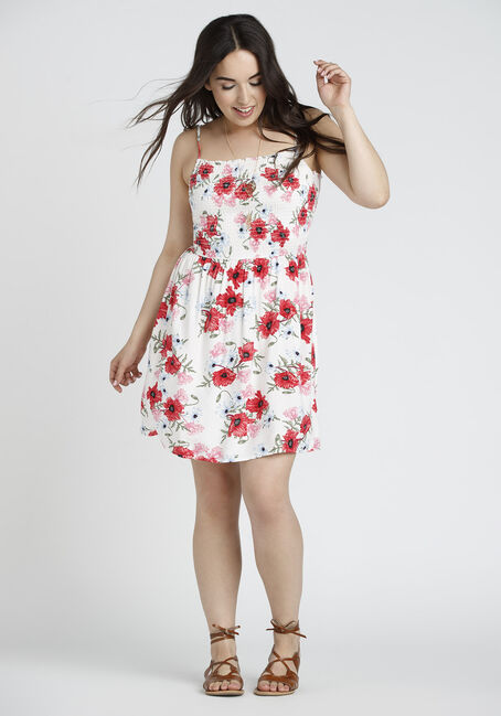 Ladies' Floral Smocked Dress, WHITE FLORAL, hi-res