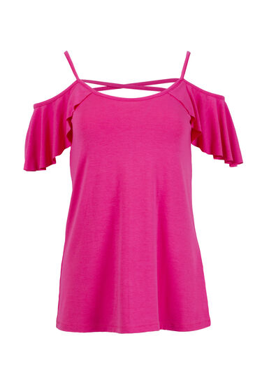 Women's Cage Back Cold Shoulder Tee, FLAMINGO, hi-res