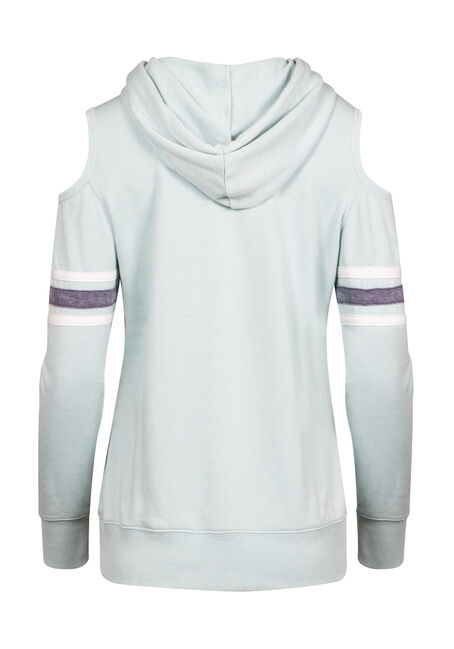 Women's Cold Shoulder Football Hoodie, MINT, hi-res