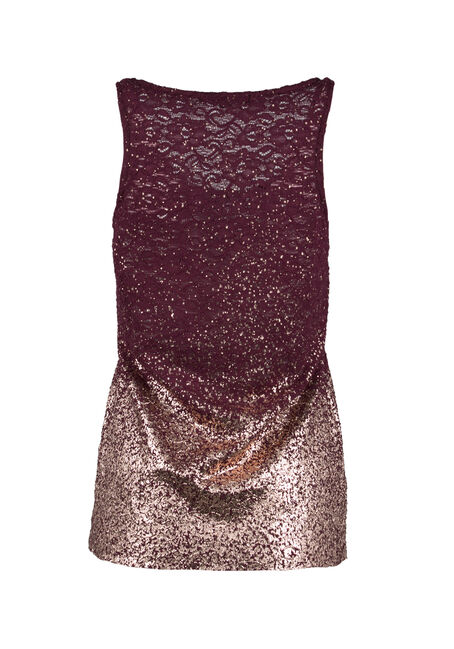 Ladies' Lace Ombre Sparkle Tank, WINE/BLUSH, hi-res